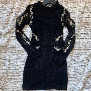 Misguided Cross Black Mesh Dress: Size 0
